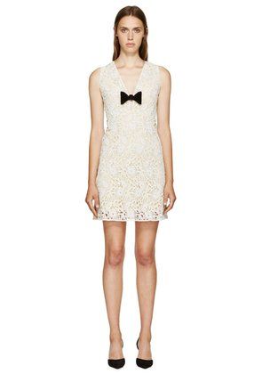 Burberry Prorsum White And Yellow Floral Macrame V-neck Dress