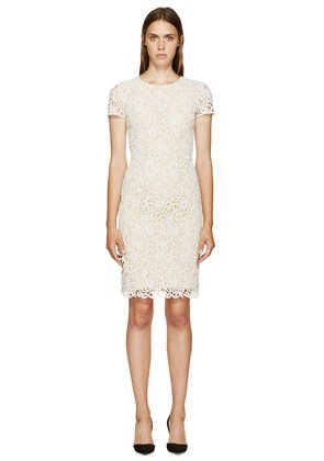 Burberry Prorsum White And Yellow Floral Macrame Dress