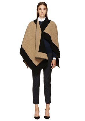 Burberry Prorsum Black And Beige Blanket Cape