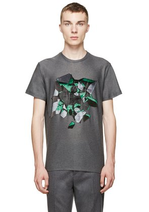 Christopher Kane Grey Embroidered Wallbreak T-shirt