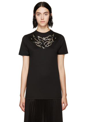 Christopher Kane Black Art Nouveau Applique T-shirt