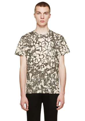 Christopher Kane Ivory And Grey Rubble Print T-shirt