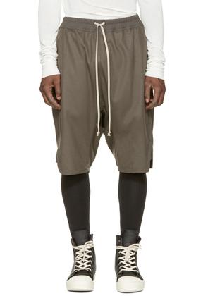 Rick Owens Grey Wool Baset Swinger Shorts