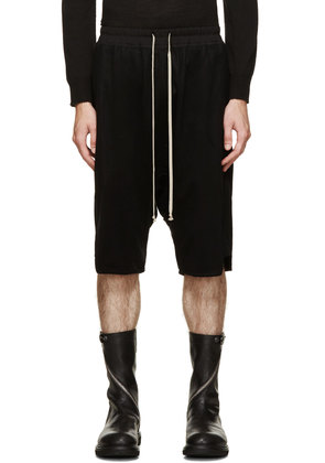 Rick Owens Black Melton Swinger Shorts