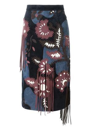 Burberry Prorsum patchwork floral pattern skirt