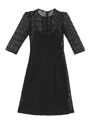 Contrasting-lace shift dress