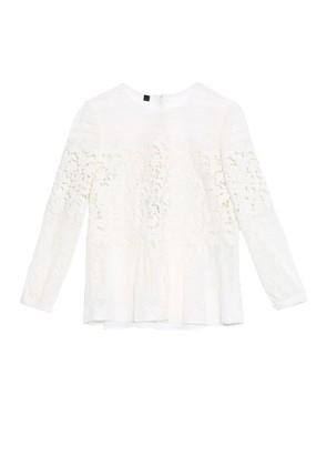 Peplum-waist lace blouse