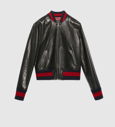Gucci Embroidered Leather Bomber Jacket  MILANSTYLECOM