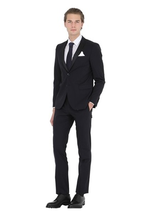 MANUEL RITZ - SLIM FIT STRETCH WOOL TUXEDO SUIT