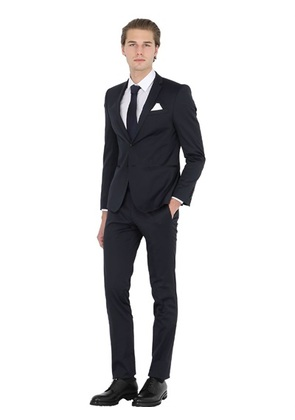 MANUEL RITZ - SUPER SLIM FIT STRETCH TECHNO SATIN SUIT