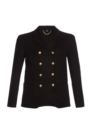 Double-breasted cashmere military jacket