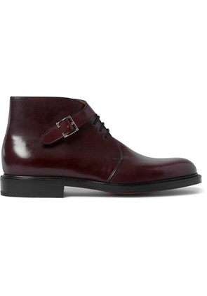 Combe Buckled Leather Boots Burgundy