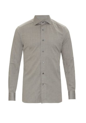 Herringbone cotton button-cuff shirt