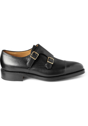William Leather Monk-Strap Shoes Black