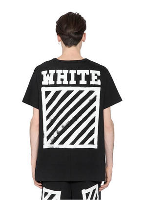 OFF WHITE - BRUSHED STRIPES COTTON JERSEY T-SHIRT