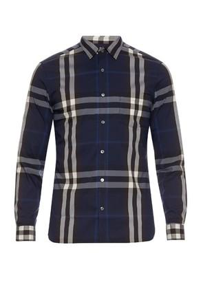 Long-sleeved house-check shirt