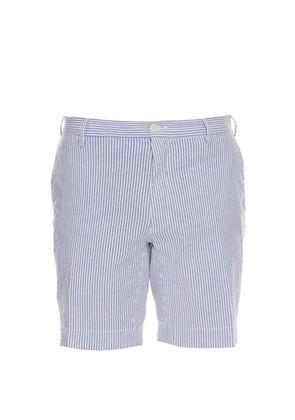 Straight-leg cotton-blend seersucker shorts