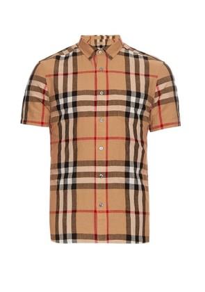 Short-sleeved house-check shirt