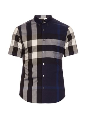 Short-sleeved house-check cotton shirt