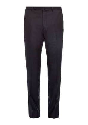 Mid-rise slim-leg wool trousers