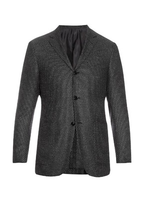 Single-breasted wool and silk-blend blazer