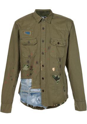 Prps distressed patchwork shirt