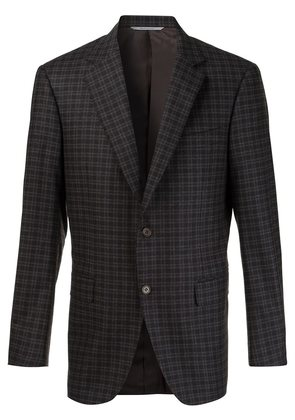 Canali checked notched lapel blazer
