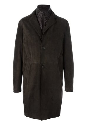 Canali single breasted leather coat