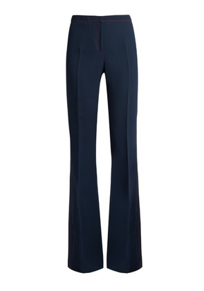 Contrast-stitch flared trousers