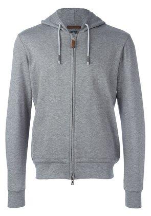 Eleventy drawstring detail zipped hoodie
