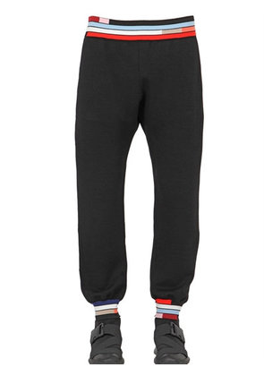 COLOR BLOCK COTTON JACQUARD PANTS