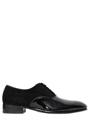 SUEDE & PATENT LEATHER OXFORD SHOES