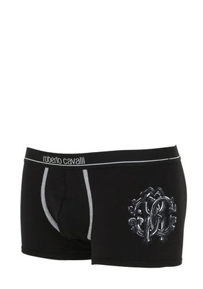 EMBROIDERED STRETCH JERSEY BOXER BRIEFS