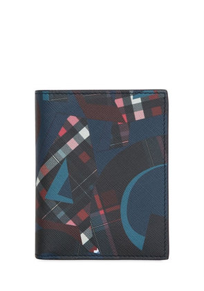 PRINTED LEATHER WALLET WITH FLAP
