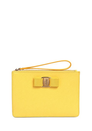 BOW SAFFIANO LEATHER POUCH