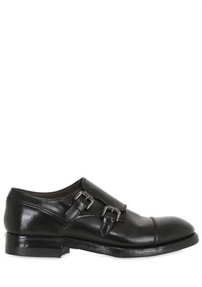BRUSHED HORSE LEATHER MONK STRAP SHOES