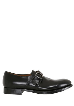 BELTED BRUSHED LEATHER BROGUE LOAFERS