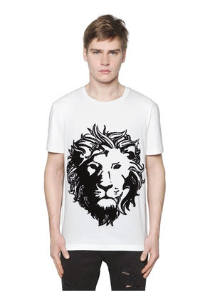 LION EMBROIDERED JERSEY T-SHIRT