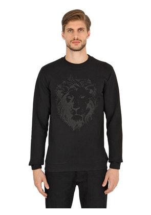 LION CRACKLE PRINTED COTTON SWEATSHIRT