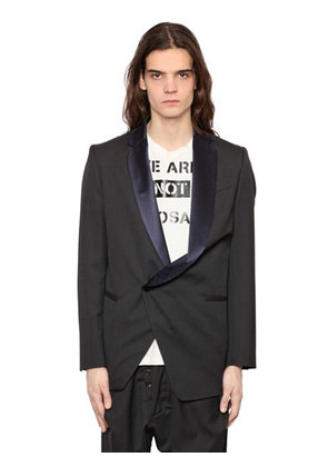 ASYMMETRICAL COOL WOOL TUXEDO JACKET