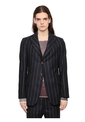 PINSTRIPED WOOL TWILL JACKET