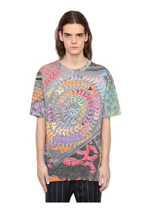 PSYCHEDELIC PRINT COTTON JERSEY T-SHIRT