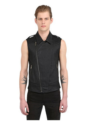 SLEEVELESS STRETCH DENIM BIKER VEST