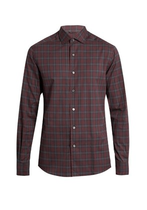Button-cuff checked cotton shirt
