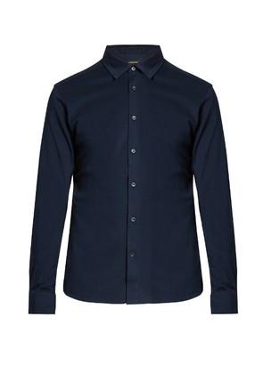 Button-down long-sleeved cotton polo shirt