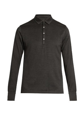 Long-sleeved wool and silk-blend polo shirt