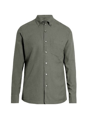 Long-sleeved cotton button-cuff shirt