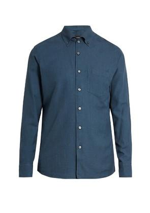 Button-down collar cotton shirt