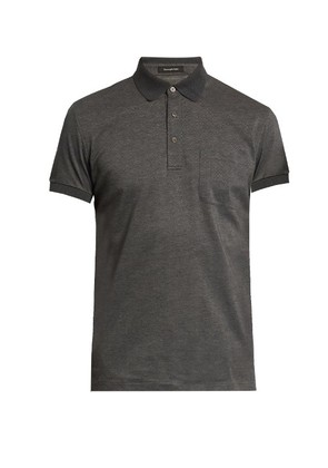 Short-sleeved cotton polo shirt