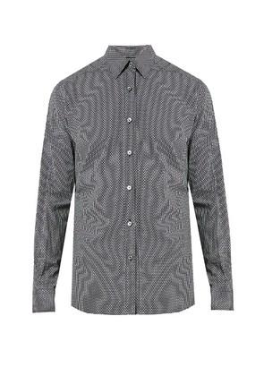 Micro geometric-print cotton shirt
